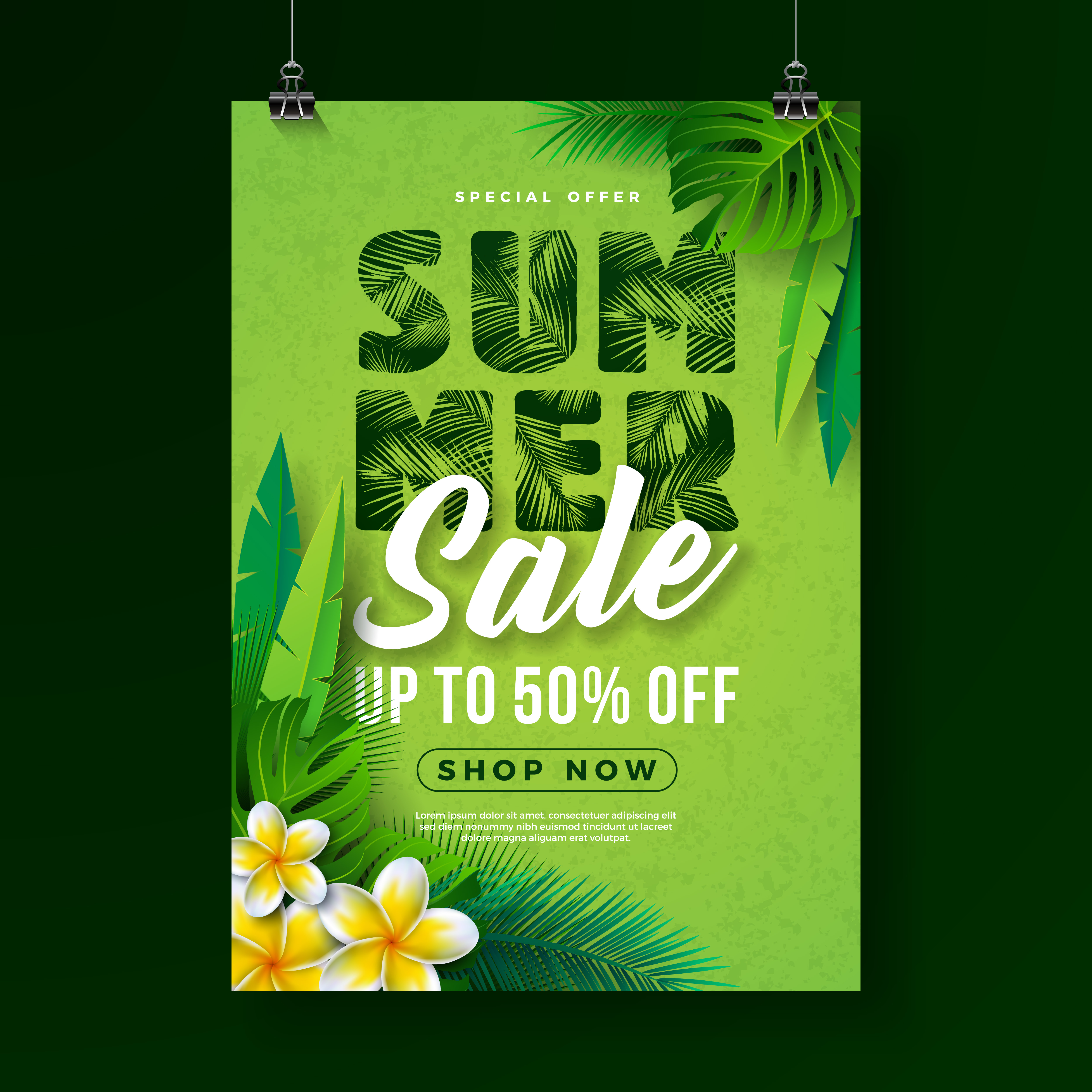 summer sale poster design template with flower and exotic