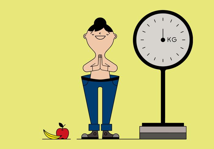 Mujer libre perdiendo peso vectorial