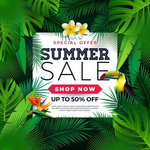Diseño de la venta del verano con el pájaro del tucán, las hojas de palma tropicales y la flor en fondo verde. Vector oferta especial ilustración con elementos de vacaciones de verano para el cupón