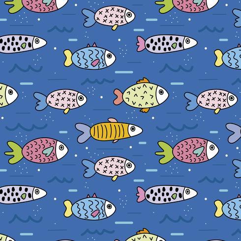 Schattig patroon met vissen in de zee