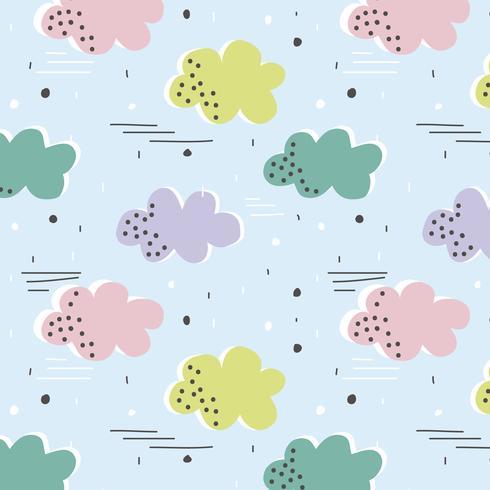 Vector sin patrón con nubes de colores