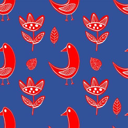 Aves escandinavas simples patrón primitivo vector