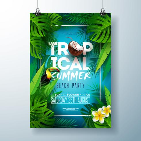 Tropical Summer Beach Party Flyer Design with flower, coconut, palm leaves and toucan bird on blue background. Vector Summer Celebration Design template with nature floral elements