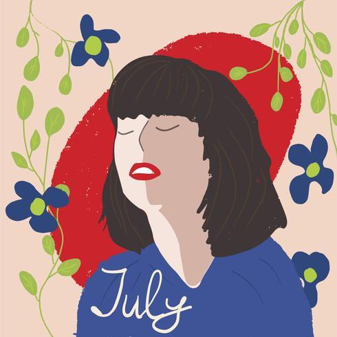 porträtt stil flicka unga kvinnor mode med växter vektor illustration