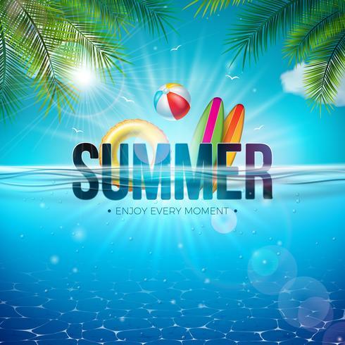 Vector zomer illustratie met strandbal, palmbladeren, Surfplank en 3D-typografie brief op onderwater blauwe oceaan achtergrond. Realistische zomervakantie vakantie ontwerp