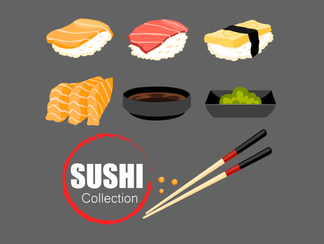 Japanese food set of sushi collection vector