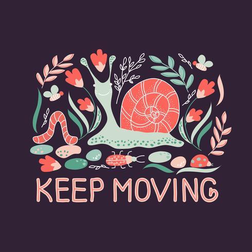 Entregue o cartaz tirado com o caracol, as abelhas, os insetos, as plantas e o slogan naturais dos animais da floresta mantêm-se mover-se. vetor