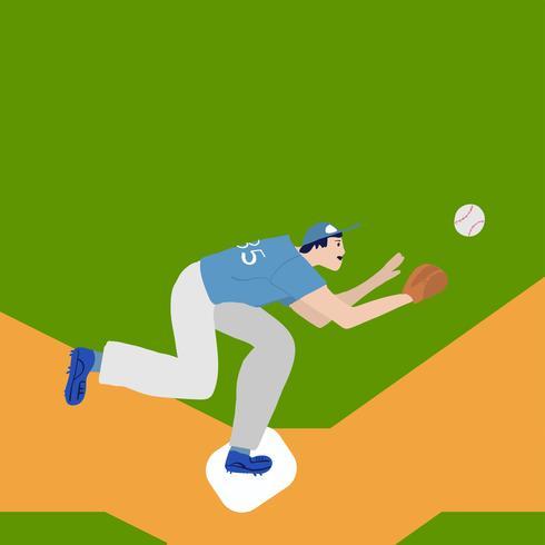 basebollspelare bättre på fältet. Vektor platt illustration