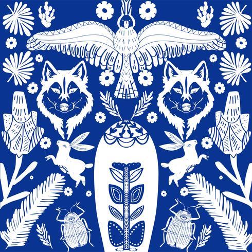 Scandinavian folk art pattern with wolf and flowers