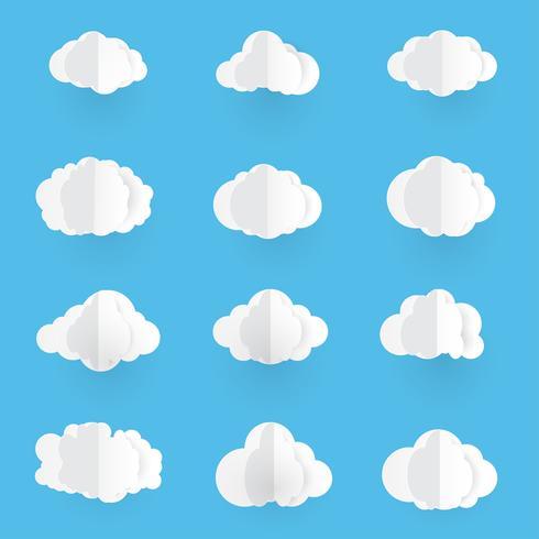 Arte de papel con nube. Ilustración del vector de las nubes en fondo del cielo azul.