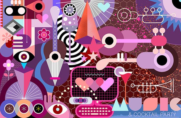 Festival de música y cóctel ilustración vectorial