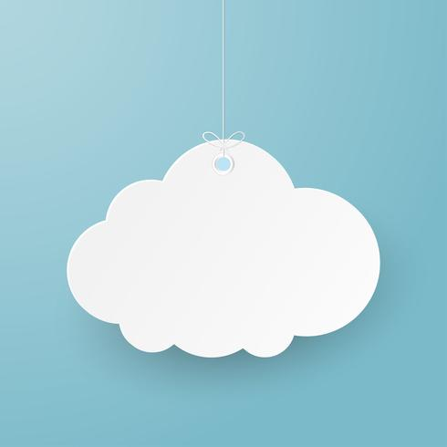 Arte de papel con nube sobre fondo blanco y gris.