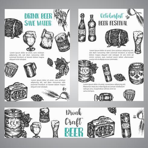 Bier hand getekende illustratie Aantal brochures met verzameling van vintage brouwerij geschetst vector symbolen Oktober fest banner