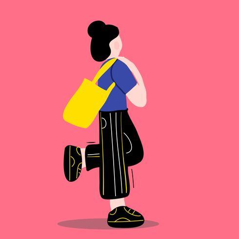 Langes Haar des flachen Mädchens mit Vektorillustration des nullabfallsacks im Freien