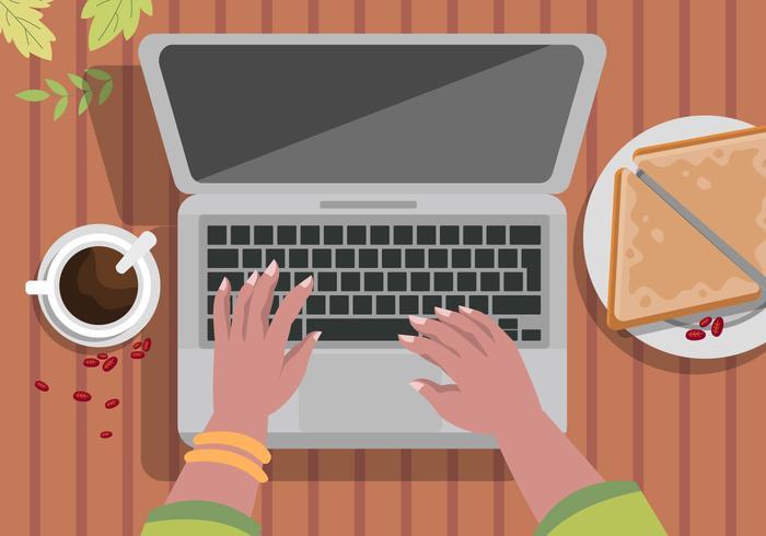 Lavorare casuale al computer portatile con l'illustrazione di vettore del caffè