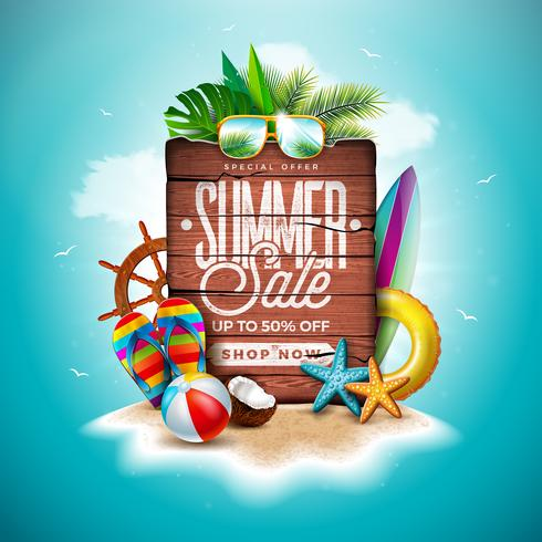 Summer Sale Design with Exotic Palm Leaves and Vintage Wood Board on Tropical Island Background. Vector Holiday Special Offer Illustration with Beach Ball and Flower
