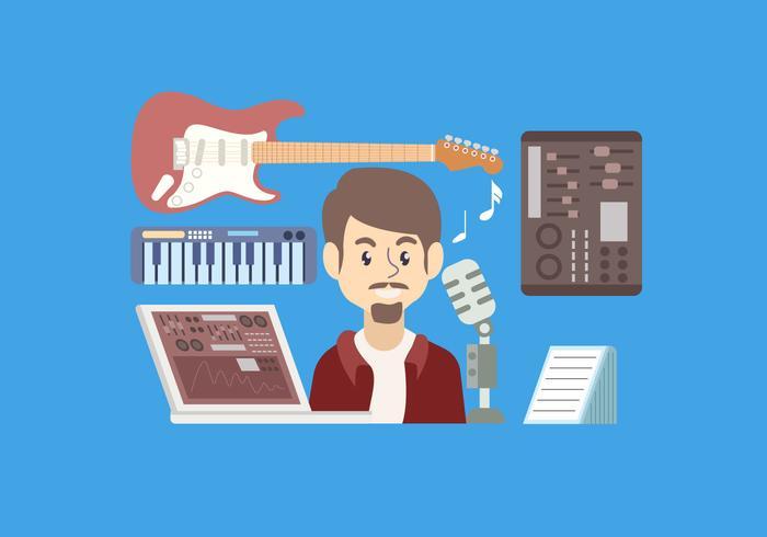 Illustrazione di vettore del musicista degli strumenti Starter Pack