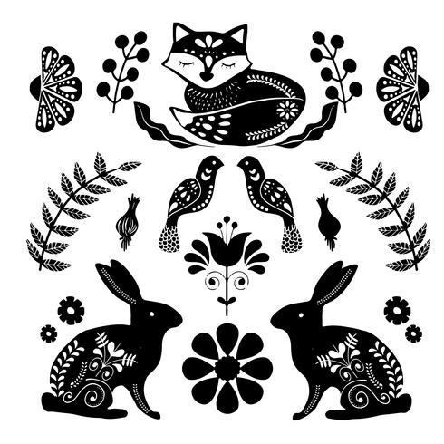 Skandinaviskt folkmönster med fåglar och blommor