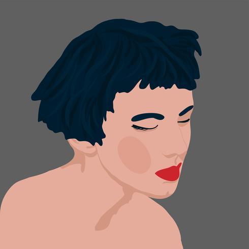 stijl van de meisjes jonge vrouwen van de portretstijl met installaties vectorillustratie