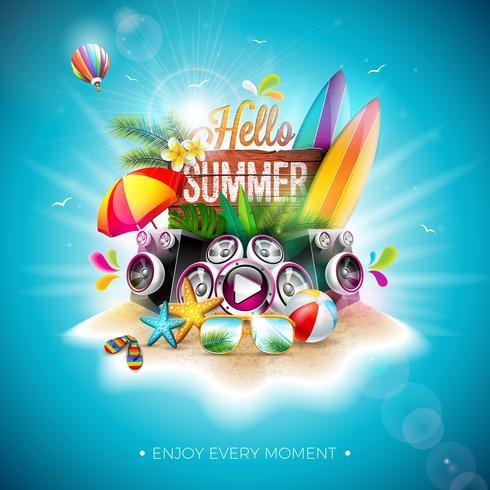 Vector Hallo zomer vakantie illustratie met typografie brief en Vintage houten bord op blauwe achtergrond. Tropische planten, bloemen, strandbal, luidspreker en parasol op Paradise Island