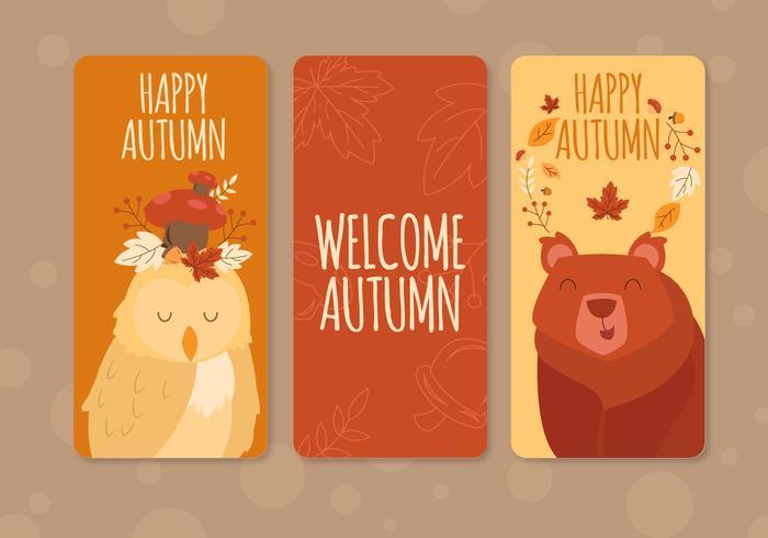 Carte de voeux d'automne animaux mignons