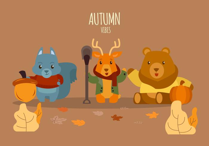 Cute Animals Character in Autumn Outfit