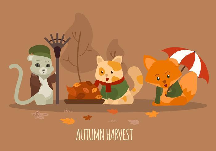 Lindo personaje de animales en traje de otoño