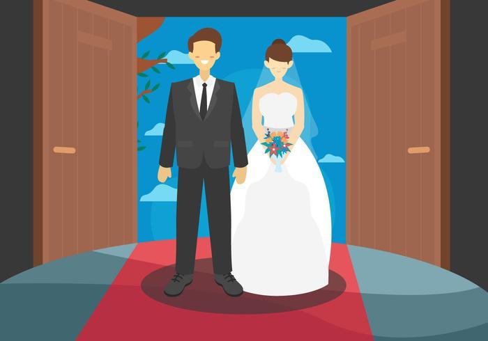 Formal Bride Couple Vector Flat Illustration
