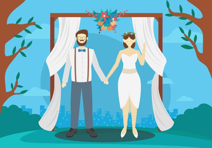 Wedding Couple Character Outdoor Vector Illustration