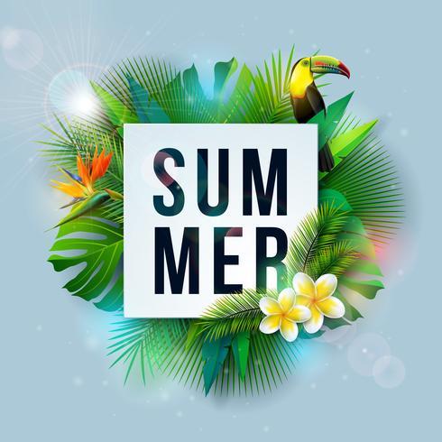 Vector a ilustração das férias de verão com flor e folhas de palmeira tropicais no fundo do azul de oceano. Pássaro tucano, cinto de segurança, bola de praia e prancha de surf na Paradise Island