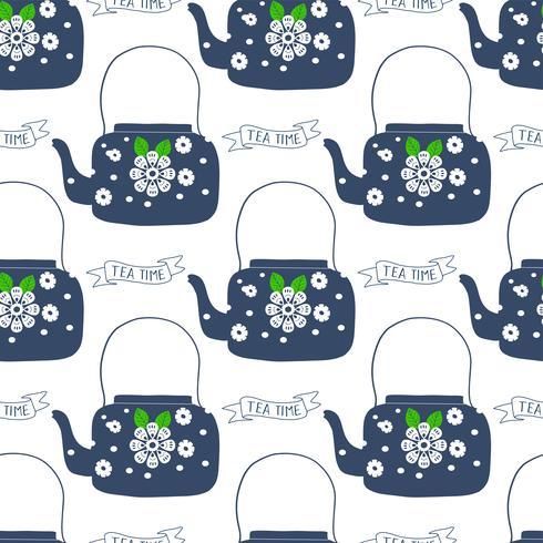 Olla de té de arte popular con ilustración de vector de impresión de bloque de flor