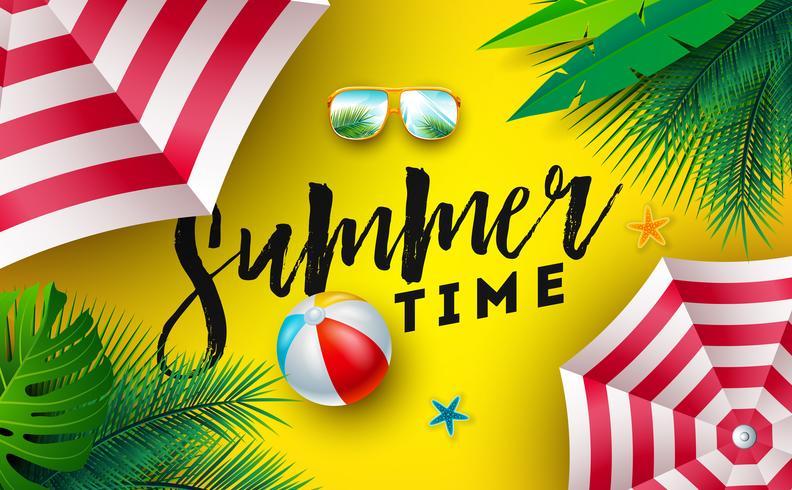Sommerzeit-Illustration mit Sonnenschutz, Wasserball und Sonnenbrille auf sonnengelbem Hintergrund. Vektor-tropisches Feiertags-Design mit exotischen Palmblättern und Typografie-Buchstaben