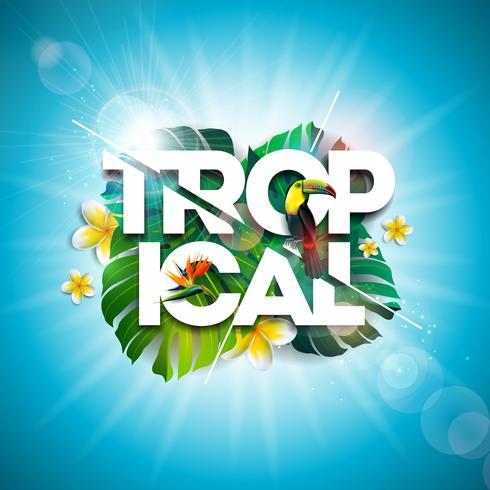 Diseño tropical de las vacaciones de verano con la flor del pájaro y del loro del tucán en fondo azul. Ilustración vectorial con hojas de palmera exóticas y filodendro