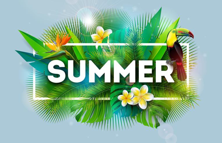 Zomervakantie illustratie met bloem en Toucan Bird op blauwe achtergrond. Vector tropisch vakantieontwerp met exotische palmbladeren en Phylodendron