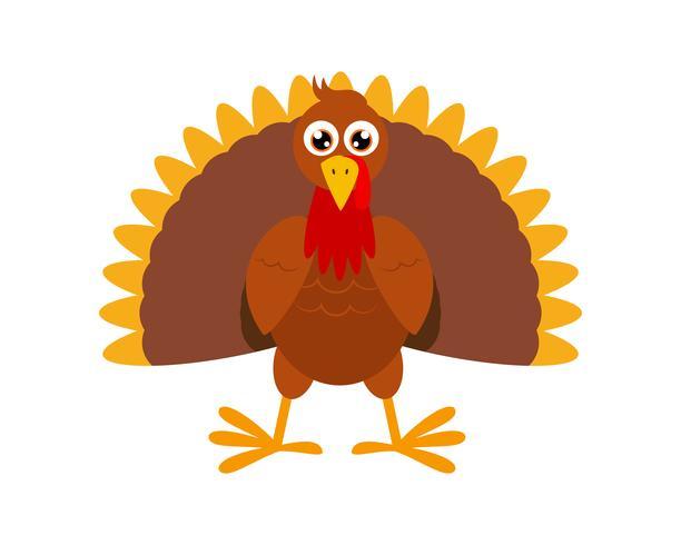 Vector Illustration of turkey bird cartoon character on white background
