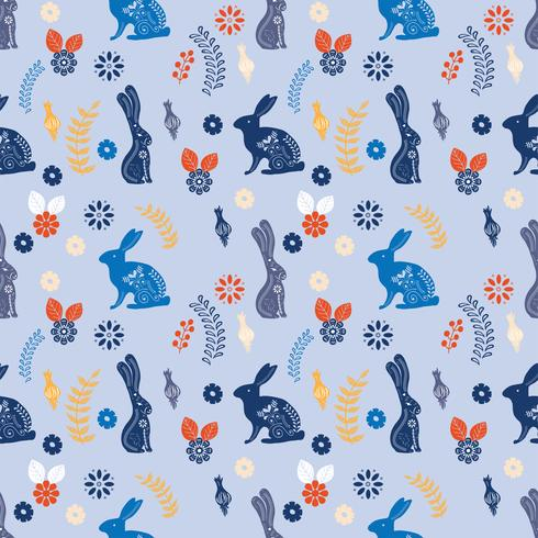 Scandinavian folk art printable pattern with bunnies and flowers