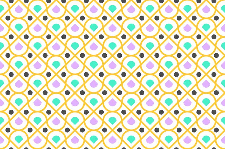 Modèle sans couture de coloré géométrique et cercle moderne sur fond blanc - illustration vectorielle
