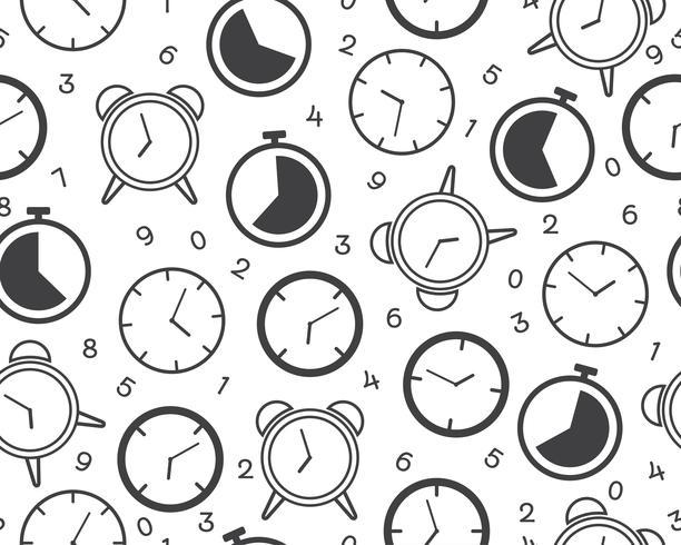 Naadloos patroon van kloktijdopnemer pictogram met aantal op witte achtergrond - Vectorillustratie