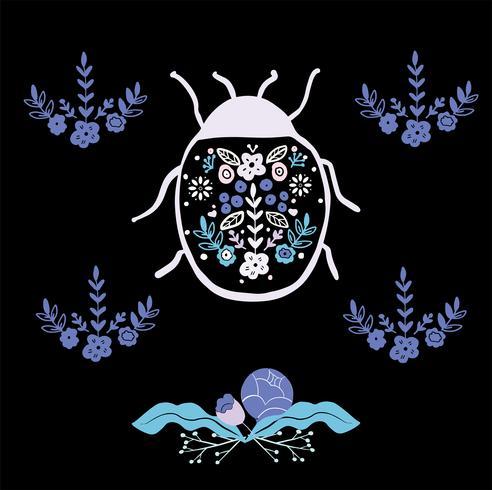 bug di arte popolare con ornamento floreale elemento stile scandinavo vettore