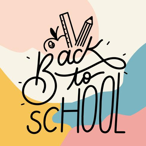 Back To School Lettering With Colorful Background vector