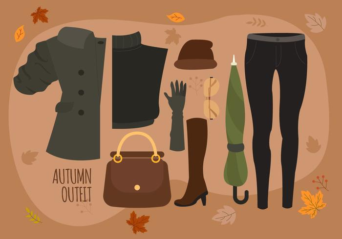 Illustration vectorielle de la femme automne Essentials Pack