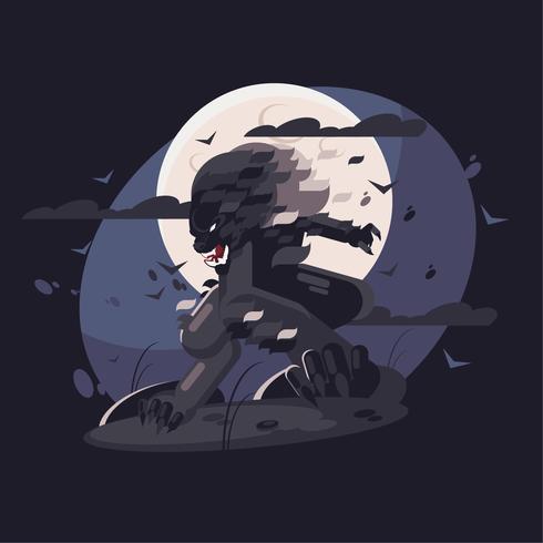 Night wolf illustration vector