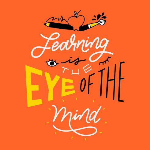Coole Schrift über die Schule mit Apfel, Pinsel, Bleistift und Auge