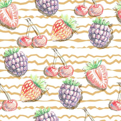 seamless vector pattern of berries. hand drawn illustration.
