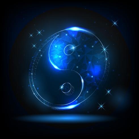 Symbole yin yang rougeoyant sur un fond d'étoiles et de ciel nocturne