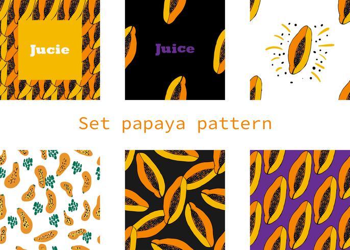 dibujado a mano de patrones sin fisuras con vector de papaya