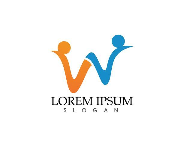 Logotipo de negócio de cartas de família W e modelo de símbolos