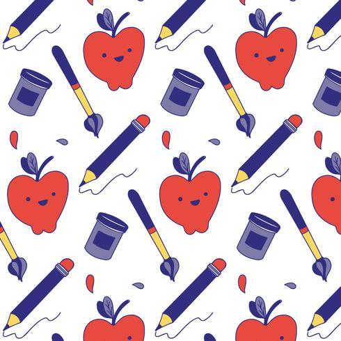 Modello carino con matita, mela, pennello e penna sulla scuola