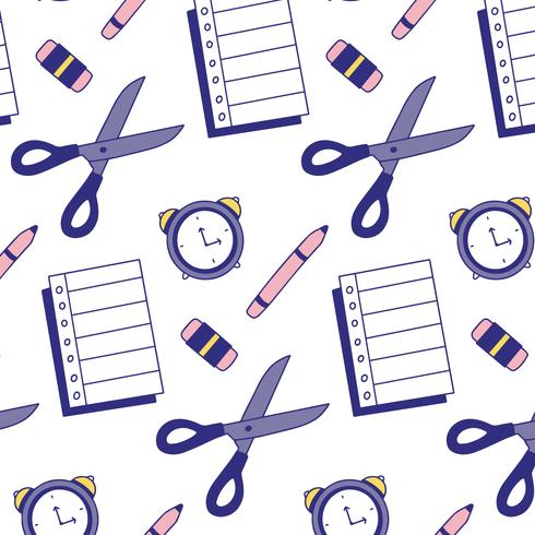 Bonito patrón escolar con hoja de papel, lápiz, borrador, reloj y tijeras