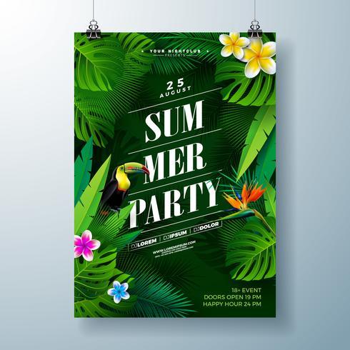 Diseño del aviador del partido del verano con la flor, las hojas de palma tropicales y el pájaro del tucán en fondo verde. Vector de plantilla de diseño de celebración de playa de verano con elementos florales de naturaleza y plantas tropicales